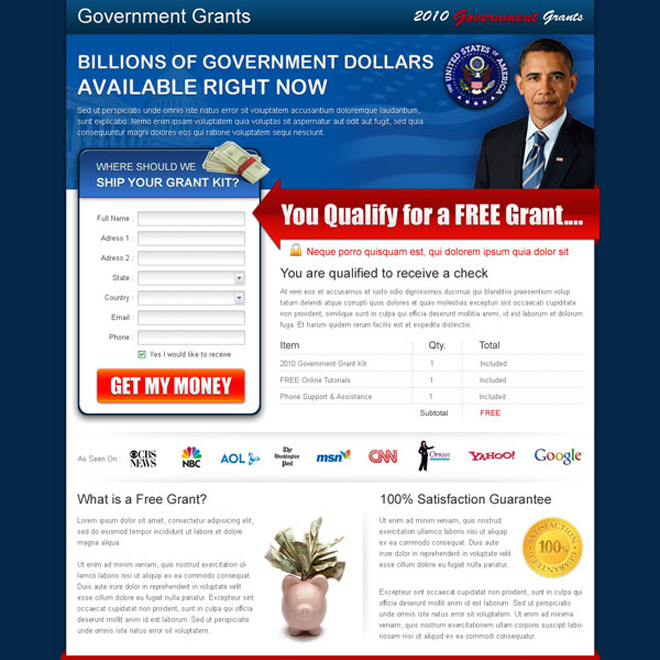 get free government grants squeeze page design Government Grants example