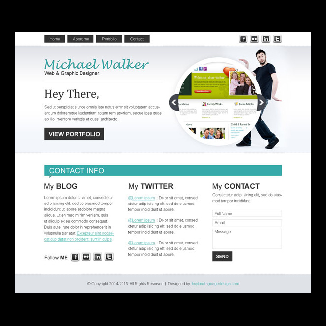 graphics designer converting personal website template design psd Website Template PSD example