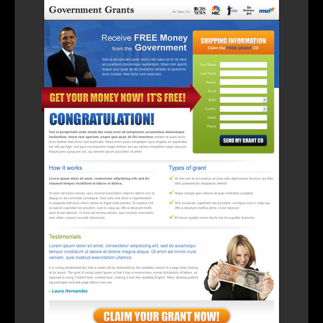 converting government grant lead capture design Government Grants example
