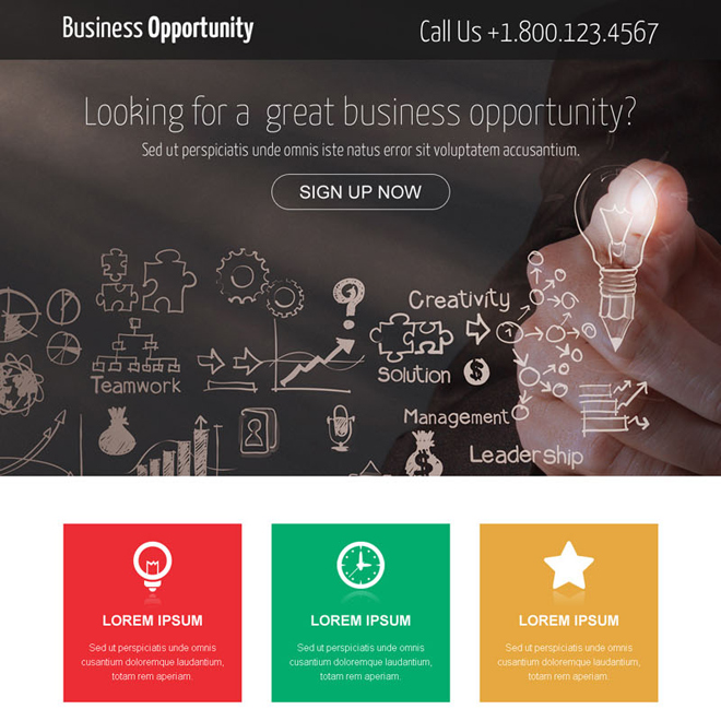 great business opportunity call to action landing page design Business Opportunity example