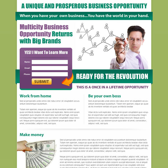 unique and prosperous business opportunity returns lead capture lander design Business example