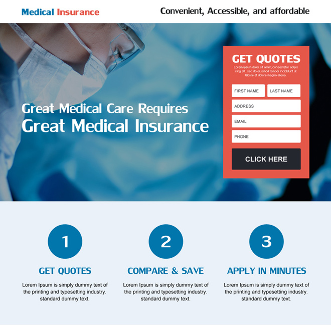 great medical insurance landing page with small lead magnet form for capturing effective leads Health Insurance example