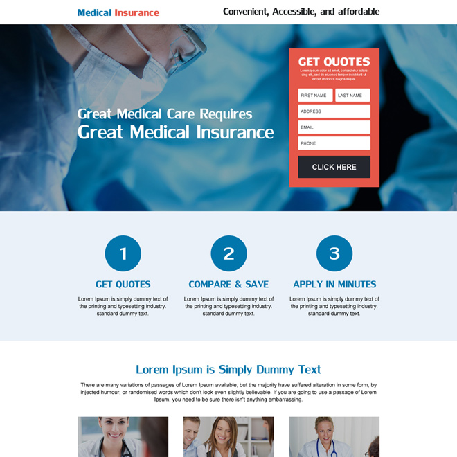 medical care insurance responsive landing page design Health Insurance example