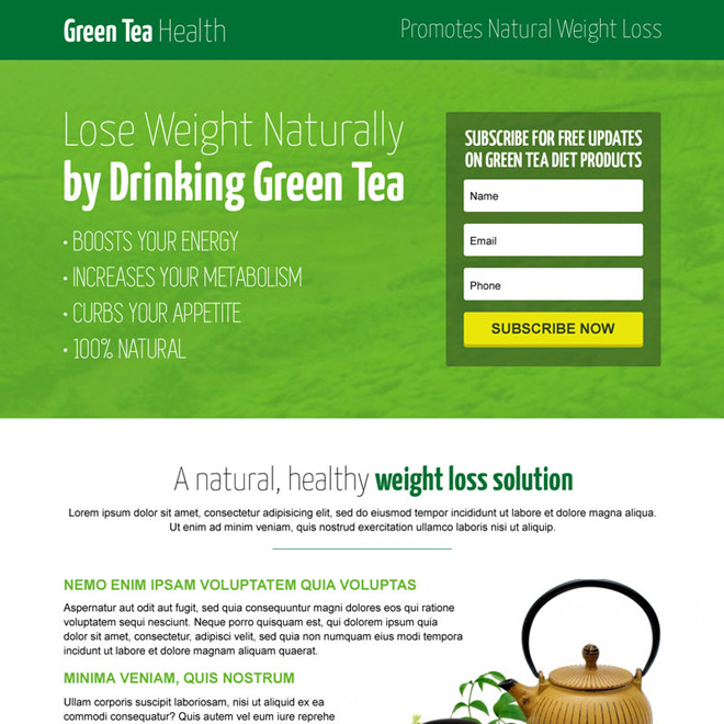 green tea natural modern lead capture landing page design template Weight Loss example
