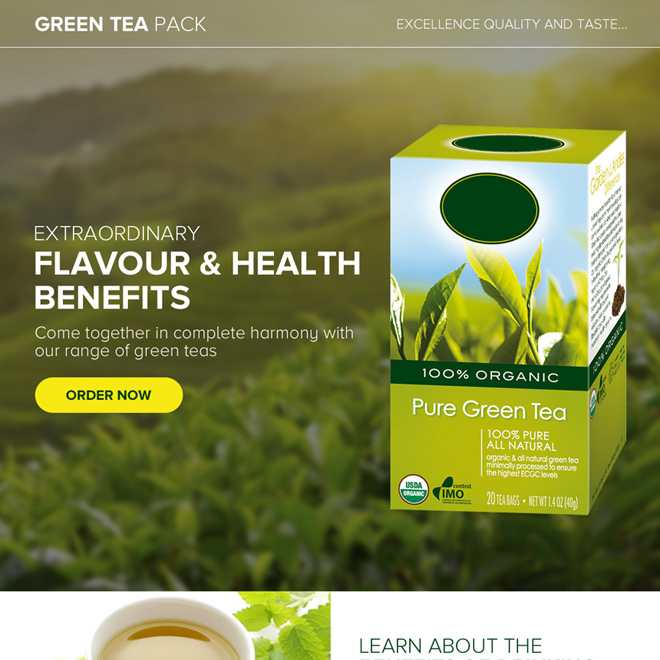 appealing green tea selling best landing page design Weight Loss example
