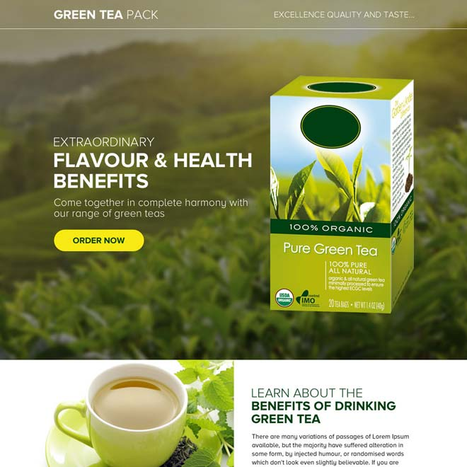 green tea selling responsive landing page design Weight Loss example