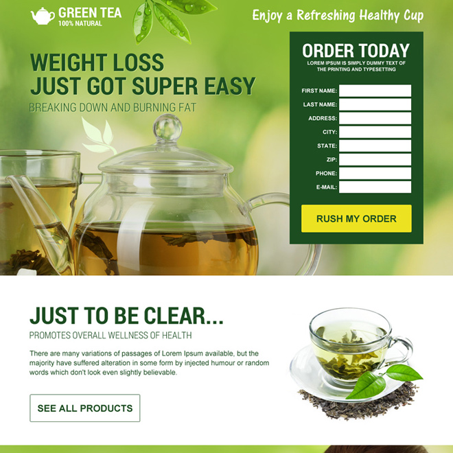 green tea weight loss diet attractive landing page Weight Loss example