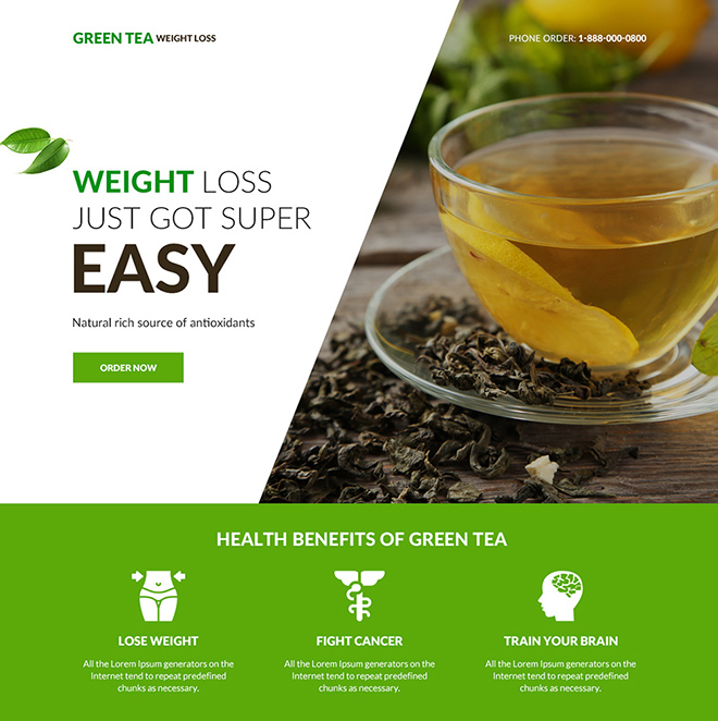 green tea weight loss supplement responsive landing page Weight Loss example