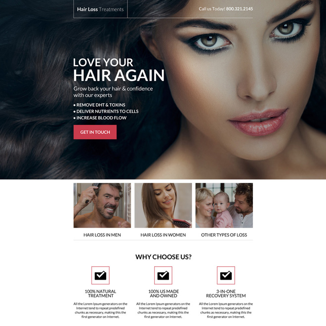 hair loss treatment call to action landing page Hair Loss example