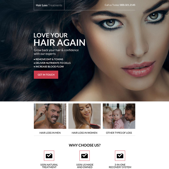 responsive hair loss lead capturing landing page design Hair Loss example