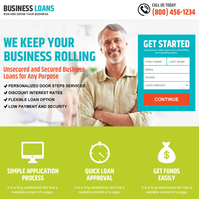 grow your business with loan small lead capture landing page design Business Loan example
