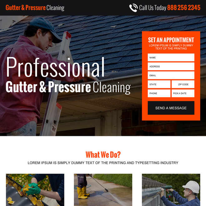 gutter pressure cleaning lead gen responsive landing page design Cleaning Services example
