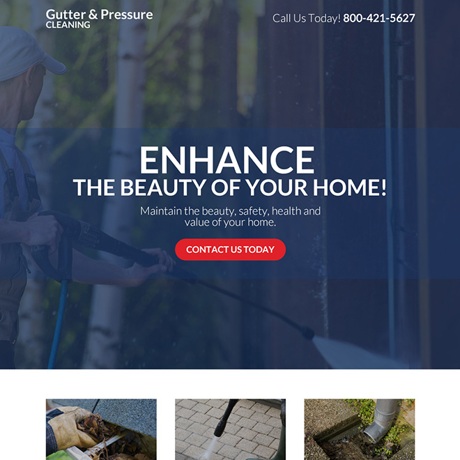 gutter and pressure cleaning company responsive landing page Cleaning Services example