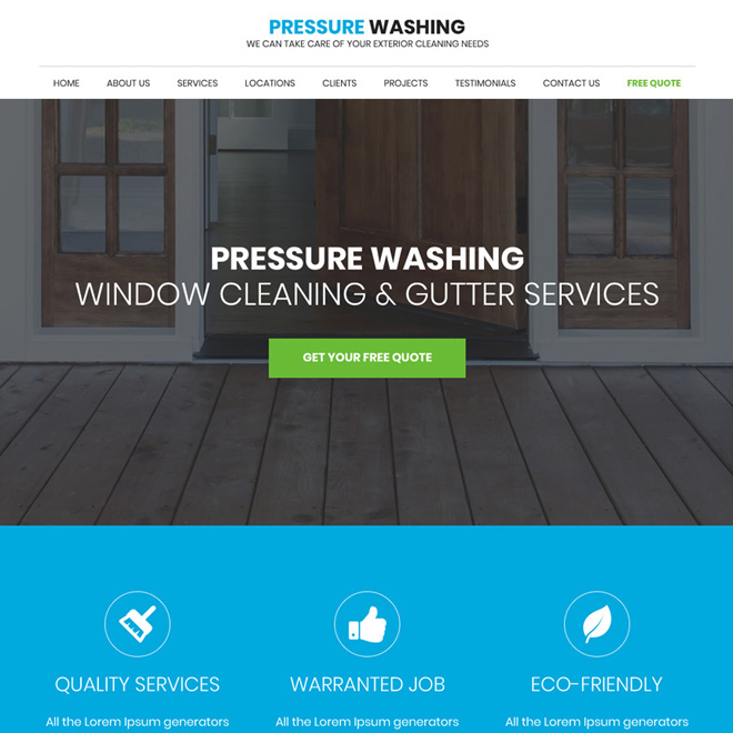 gutter and pressure cleaning responsive website design Cleaning Services example