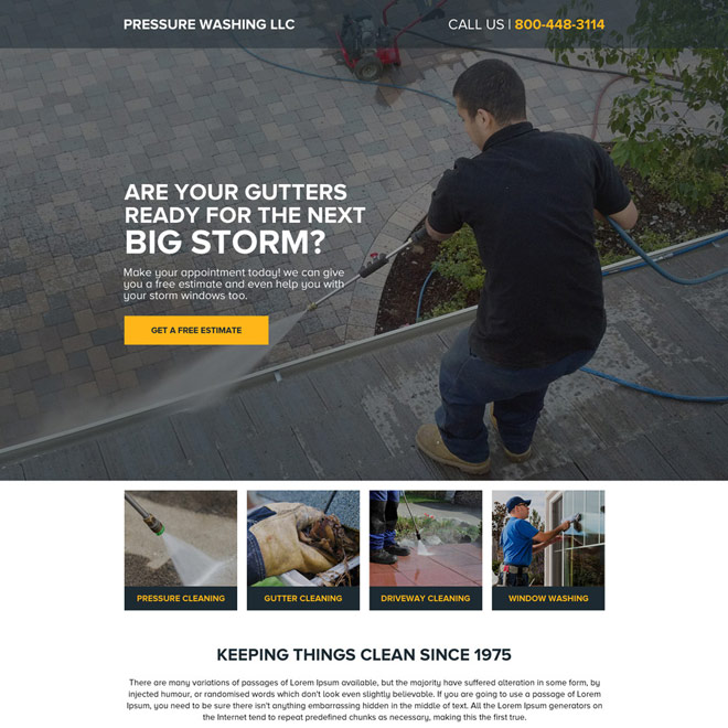 gutter pressure washing service modern landing page design Cleaning Services example