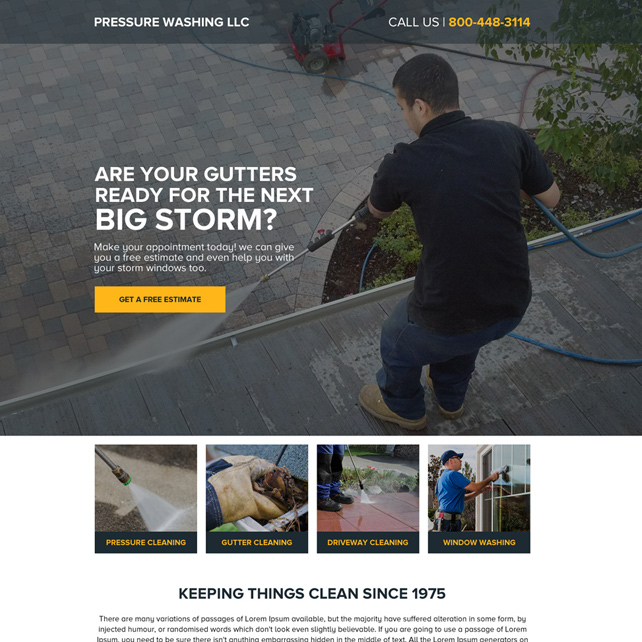 responsive gutter pressure washing service landing page design Cleaning Services example