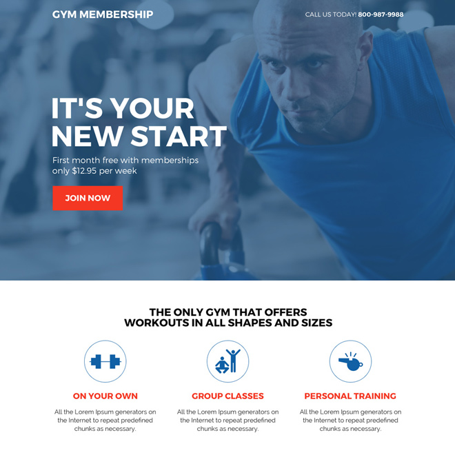 responsive gym membership sign up capturing landing page Health and Fitness example