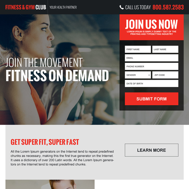 gym and health club membership generating landing page Health and Fitness example