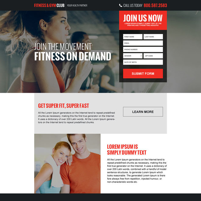 responsive health clubs and gym landing page Health and Fitness example