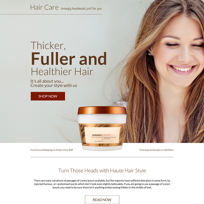 hair care product selling bootstrap landing page design Hair Care example