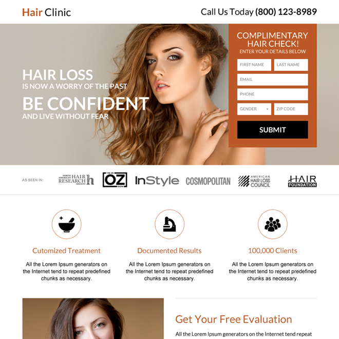 hair clinic lead form mini landing page design Hair Loss example