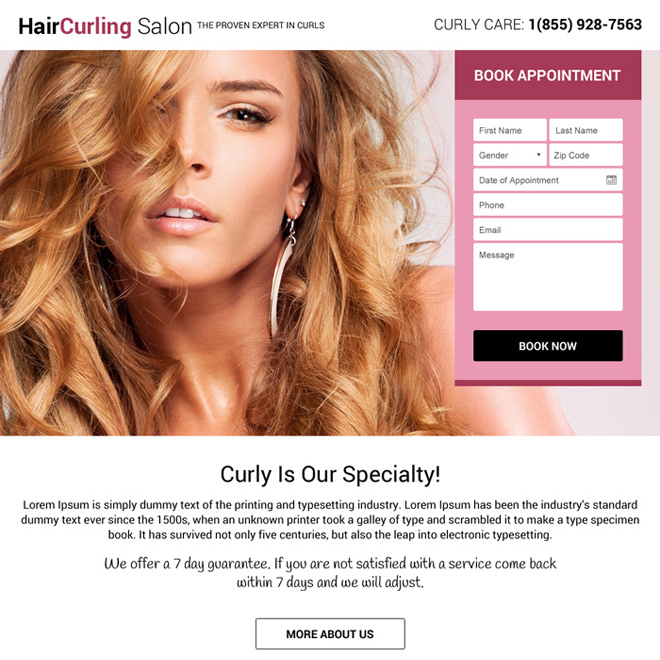 hair curling salon landing page design template Hair Care example