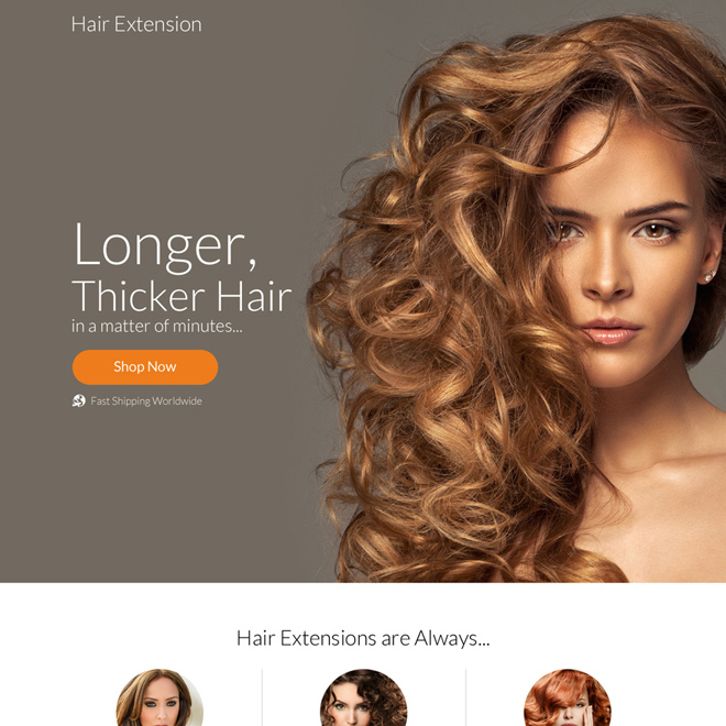 professional hair extension selling responsive landing page design Hair Care example