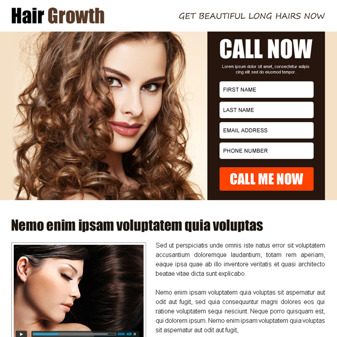 hair growth product selling ppv landing page design Hair Loss example