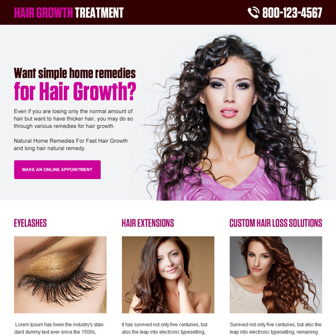 hair growth treatment clean and modern lead gen landing page design Hair Loss example