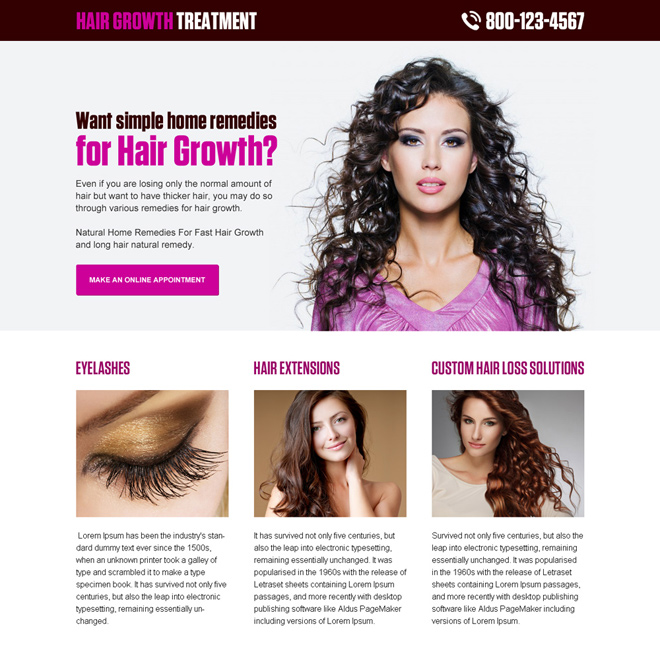 responsive hair growth treatment landing page design Hair Loss example
