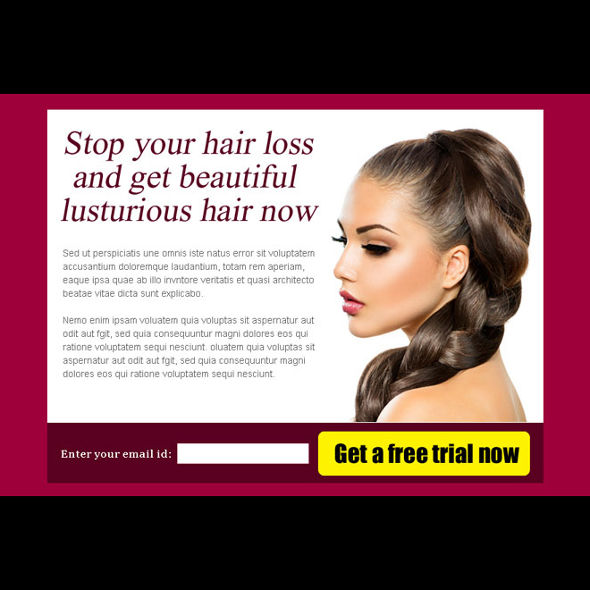 stop your hair loss and get beautiful hair now effective ppv landing page design Hair Loss example
