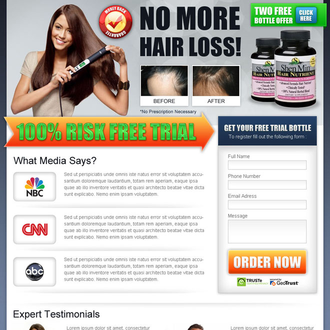 no more hair loss small lead capture lander design Hair Loss example