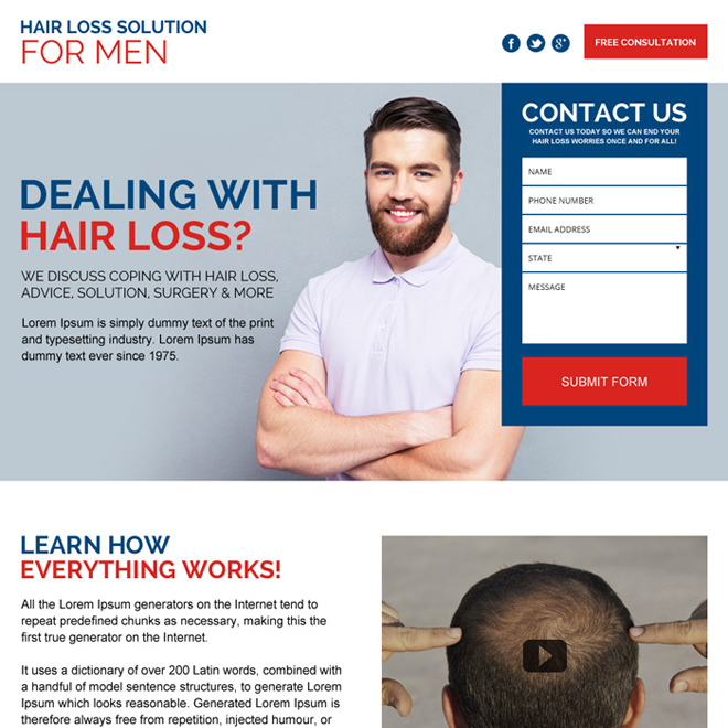 hair loss treatment for men lead capturing landing page Hair Loss example