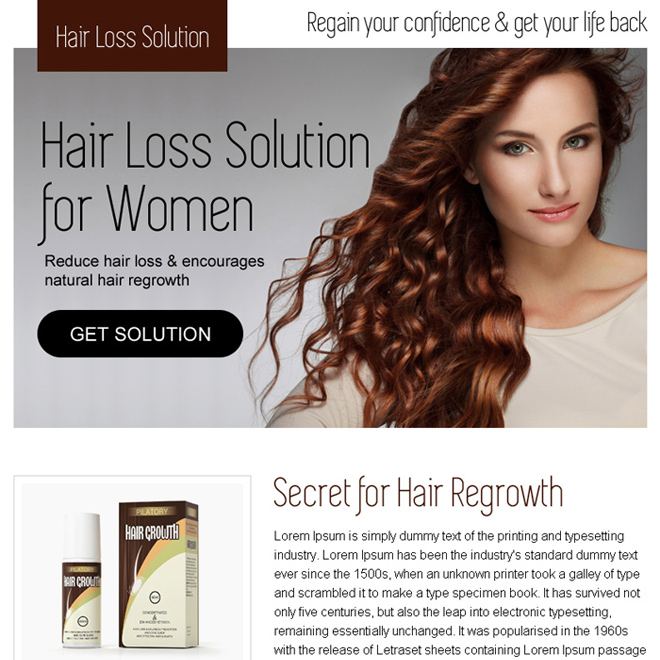 hair loss solution for women converting ppv landing page design Hair Loss example