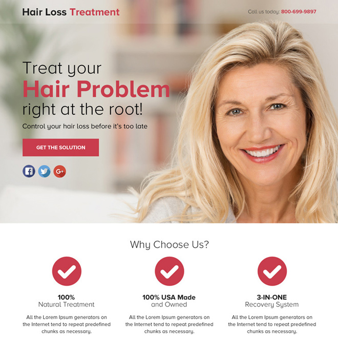 hair loss solution lead gen responsive funnel page design Hair Loss example