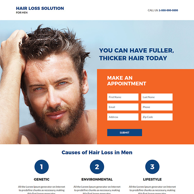 hair loss solution for men responsive landing page Hair Loss example