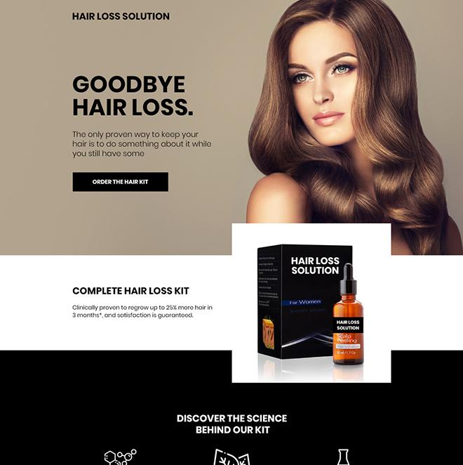 hair loss treatment kit selling mini landing page Hair Loss example