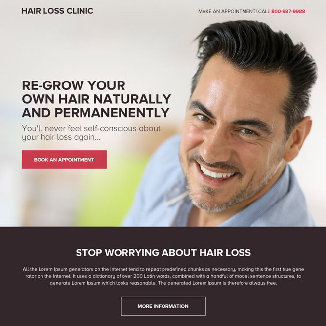 hair loss treatment for men responsive landing page design Hair Loss example