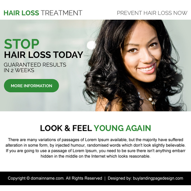 hair loss treatment call to action ppv landing page design Hair Loss example