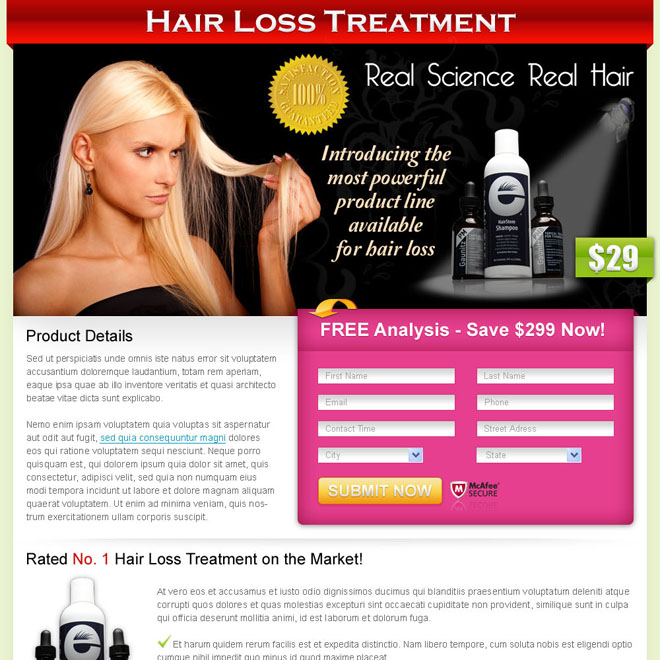 hair loss treatment clean lead capture design Hair Loss example