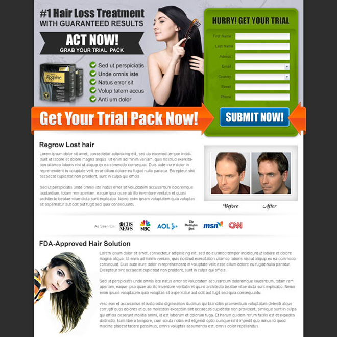 hair loss treatment lead capture squeeze page Hair Loss example