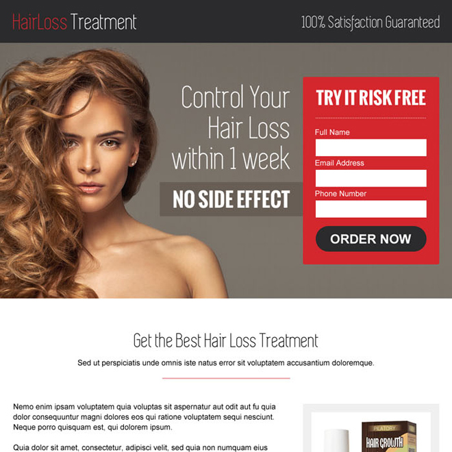hair loss product selling lead capture responsive landing page design Hair Loss example