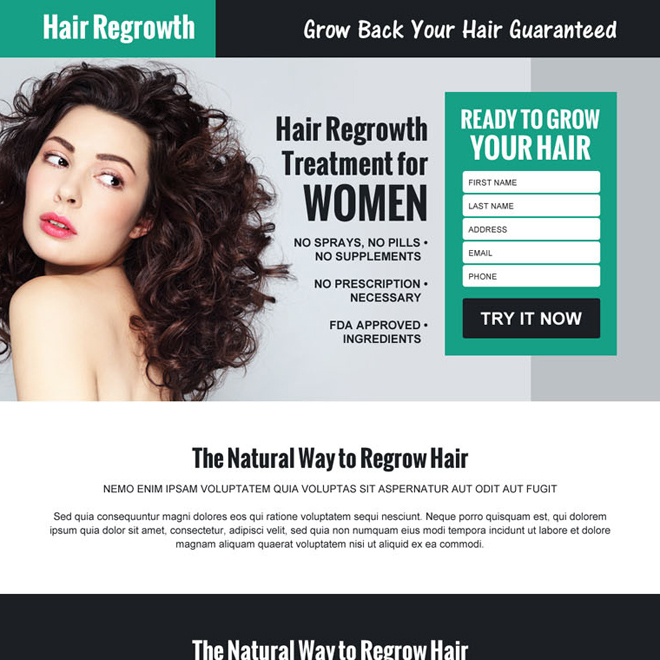 hair regrowth product selling lead capture landing page design Hair Loss example
