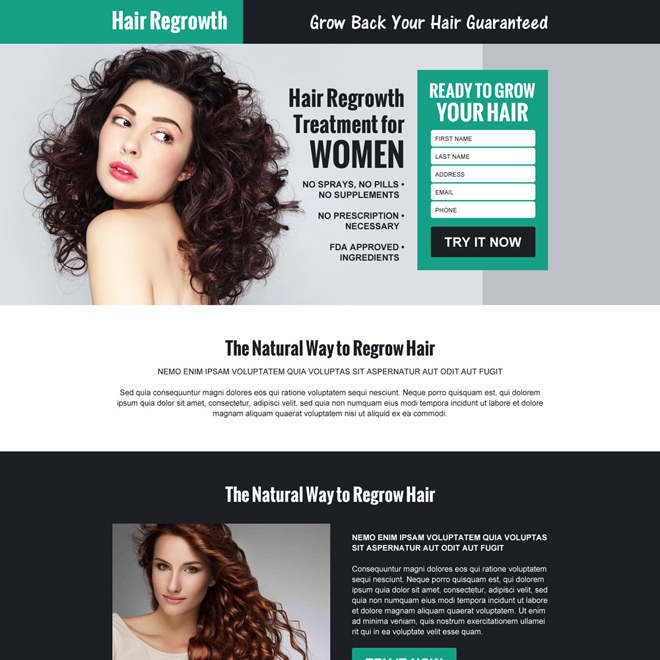 hair regrow product selling responsive landing page design Hair Loss example