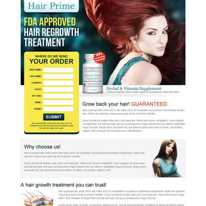 hair regrowth treatment clean and converting lead gen squeeze page design Hair Loss example