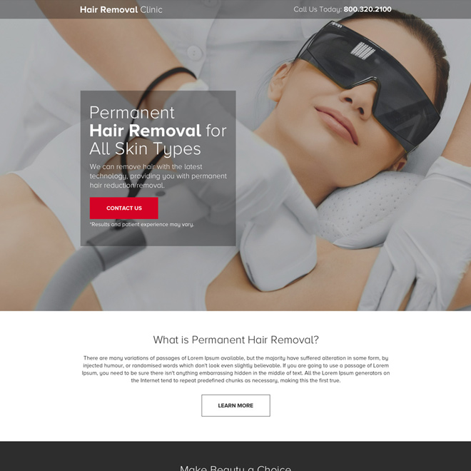 hair removal clinic pay per click landing page design Hair Removal example