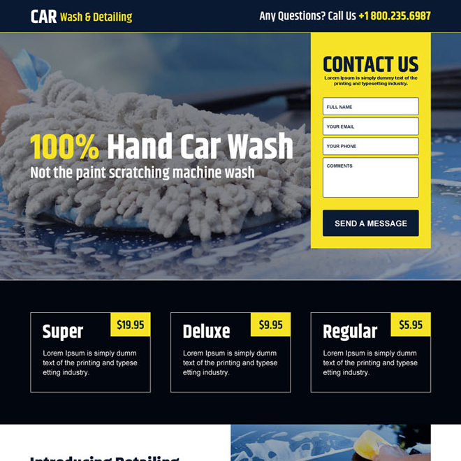 hand car wash lead capture landing page design Car Wash example
