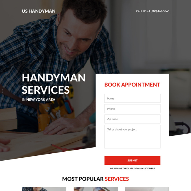 handyman service appointment booking landing page design Home Improvement example