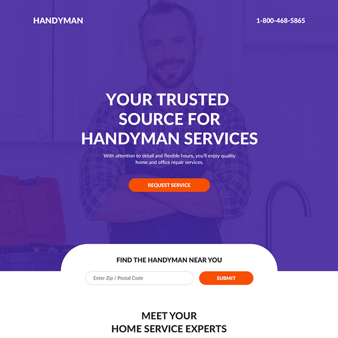 handyman services landing page design Home Improvement example