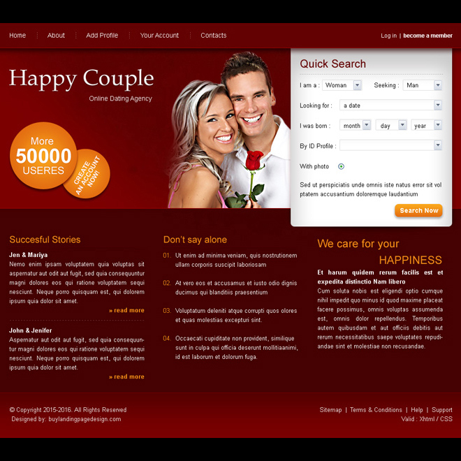 happy couple online dating website template psd for sale Website Template PSD example